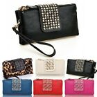 New Womens Ladies Studded Pu Leather Clutch Shoulder Bag Hanbag Studs Purse