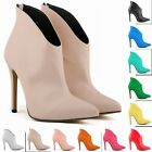 NEW  MATT PU HIGH HEELS LADIES CASUAL ANKLE BOOTS SHOES SIZE UK2 3 4 5 6 7 8 9