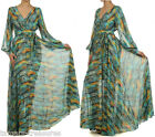 GORGEOUS GREEN Sheer FULL SWEEP Chiffon Wrap MAXI DRESS Boho Tribal  * S M L XL