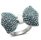 Ladies Large New Stainless Steel Aqua Blue Crystal Ribbon Bow Tie Ring Size 5-10