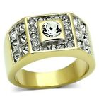 New Stainless Steel Gold IP Men's Crystal Bundle Wedding Band Ring  Sizes 8-13