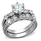 Stainless Steel AAA Grade Round 3.4Ct CZ Engagement Wedding Ring Set  Sizes 5-10