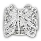 New Stainless Steel Ladies Filigree Wirework Butterfly Ring - Sizes 6-10
