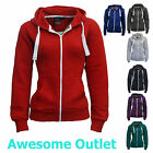 LADIES ZIP UP HOODIE PLAIN SWEATSHIRT WOMENS COAT HOODED JACKET SIZE UK S M L XL