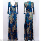 Blue BOHO Paisley MAXI DRESS Jersey FAUX WRAP Long Skirt CRUISE Travel S M L