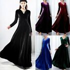 Fashion Womens Velvet Long Sleeve Autumn Winter V Neck Evening Party Maxi Dress