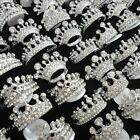 4-40pcs wholesale top Crown Rhinestone sliver plated rings free shipping jewelry