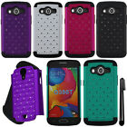For Samsung Galaxy Avant G386T Dazzling HYBRID Rubber HARD Case Cover Phone +Pen