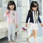 Girls Cardigan Jacket Knit Lace Casual Toddler Children 110-140 Sweaters Coat