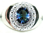 Men's Mystic Blue Topaz Sterling Silver Ring       R8 New Style