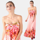 Rhinstone Floral Strapless Beach Wedding Party Bridesmaid Maxi Maternal Dress
