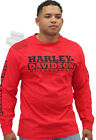 Harley-Davidson Mens H-D Motorcycles Red Long Sleeve Crew T-Shirt