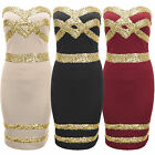 NEW WOMENS LADIES GOLD SEQUIN TOP BOOBTUBE DRESS BODYCON BANDAGE PARTY STRAPLESS