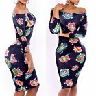 Sexy Women Floral Party Bodycon Bandage Dress Party Clubwear Off Shoulder