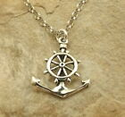 Sterling Silver Anchor with Wheel Pendant on a 3mm Rolo Chain Necklace -1427