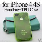 Faux Leather Wallet Card Slot Pouch TPU Case Cover Glass SP For iPhone 4 4S 5 5S