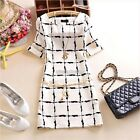 Women's Elegant Chiffon Long Sleeve Dress Black+White Plaid Slim Fit Dress N98B
