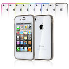 Clear TPU Jelly Bumper Frame Ultra Clear Hard Back Cover Case for iPhone 4 4G 4S