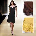 Women Girls Stretchy Slimming Tiered Lace Chiffon Flare Party Day Skater Dress
