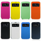 Flip Leahter Hard Clear Back Case View Window Cover for Samsung Galaxy S4 i9500