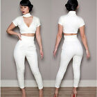 HOT Womens Sexy V-Neck Top+Pants Party Clubwear Set Jumpsuit Romper 2 Piece N161