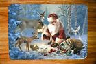 SANTA AND WOODLAND FRIENDS DEER DOVES PLACEMATS FABRIC TOP / RUBBER BACKED