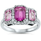 2.40CT Pink Quartz & Diamond Halo Emerald 3 Stone Ring 14K White Gold