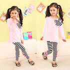 Kids Girls Bow Striped Leggings Suit Long Sleeve Shirts Tops Clothes SBU