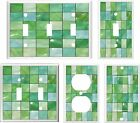 IMAGE OF GLASS TILE GREEN TONES  LIGHT SWITCH COVER PLATE OT OUTLET U PICK