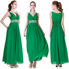 Womens Luxury V Neck Sleeveless Formal Prom Ball Gown Evening Party Maxi Dress