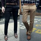 Luxury Men's Slim Fit Formal Solid Dress Flat Front Pants Casual Fashion Trouser