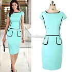 Lady Womens Sexy Short Sleeve Bodycon Cocktail Party Evening Fit Pencil Dress SH