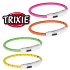 TRIXIE USB DOG CAT LIGHT UP FLASHING WINTER WALKING COLLAR RING 3 SIZES 4 COLOUR