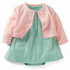 Carters 6 Months Sailboat Bobysuit Dress Cardigan Set Baby Girl Clothes Cotton