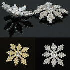 4 Pcs Lot Snowflake Crystal Rhinestone Shank Buttons Sew&DIY Decor Gold/ Silver