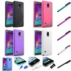Ultra Thin TPU Soft S Shape Case+Clip Stylus+Dust Cap For Samsung Galaxy Note 4