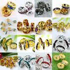 10x Metal Coin Crystal Loose Spacer Making Charm European Bead DIY 4/6/8/10/12mm