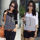 Fashion Women Stripe Casual Crew Neck Long Sleeve Tops T-Shirt Blouses Basic Tee