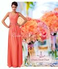 BNWT NAOMI Coral Chiffon Maxi Prom Evening Bridesmaid Lace Up Back Dress 8 -18
