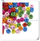 FREE SHIP 20pcs Mixed Color LETTER SQUARE Design Wood Beads 9MM BE337
