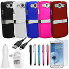 Deluxe Hard Back Case Cover Chrome Stand+Charger+Film For Samsung Galaxy S3 SIII
