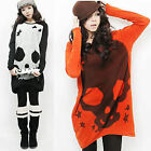 New Casual Women Knitted Long Sleeve Loose Skull Head Print T Shirt Long Blouse