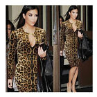 Fashion Sexy Slim Fit Leopard Long Sleeve Women's Party Cocktail Evening Dress