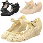 P98 Lady Summer Soft Jelly Rubber Floral Fashion Round Toe Wedge Heel Sandal