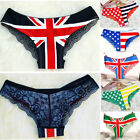 New Womens Sexy Flag Print Cotton Panties Briefs Back Lace Lingerie Underwear