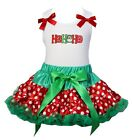Christmas Red Green Polka Dots Reversible Petite Pettiskirt HoHoHo Party Dress