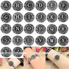 1x Retro Carved A-Z Letter Button Charm Snap Fit Punk Leather Bracelet DIY