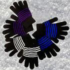 Winter Gloves Womens Thermal Warm Knitted Magic Striped Glitter Girls Stretch