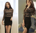 Women Korean Fashion Lace  Contrast Color Top Blouse Black Casual Shirt Sexy