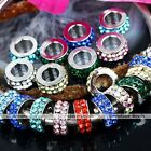 5x 4x11mm 2-row Crystal Rondelle European Spacer Loose Bead Charm Fit Bracelet